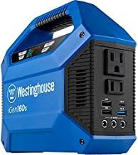 Westinghouse iGen160s Portable Power Station 155Wh Backup Lithium Battery, 110V/100W AC Outlets, Solar Generator (Solar Panel Not Included)