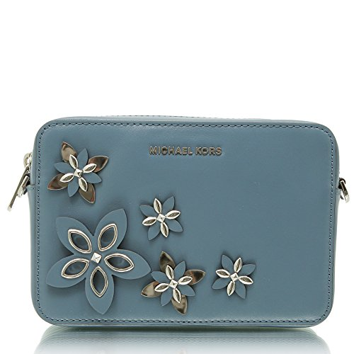 "7-1/2""W x 5-1/4""H x 1-3/4""D Interior features 1 slip pocket and 3 card slots 21-1/2"" to 25""L removable, adjustable strap Zip closure Exterior features silver-tone hardware and flower detail"