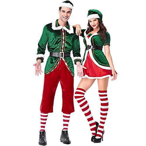 ZXYSHOP Set De Duende NavideñO Verde Traje De Mujer Y Hombre De Disfraz De Navidad De Duendecillo De Muneco De Nieve De Papa Noel Elf Male-M