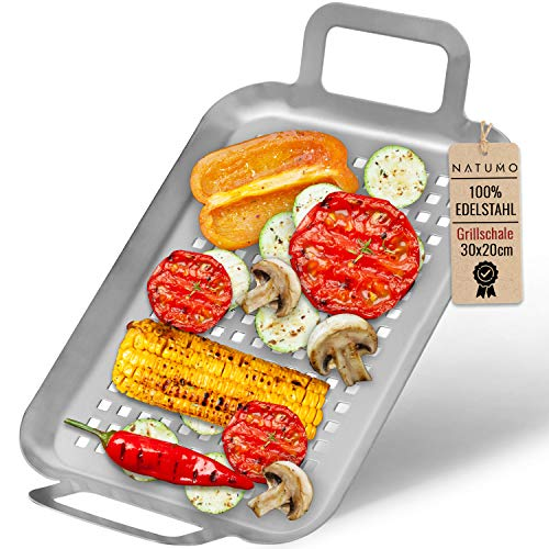 NATUMO Edelstahl Grillschale 30 x 20 x 2 cm, BBQ Schale für Fleisch, Gemüse, Fisch, Grill-Zubehör rostfrei (2)
