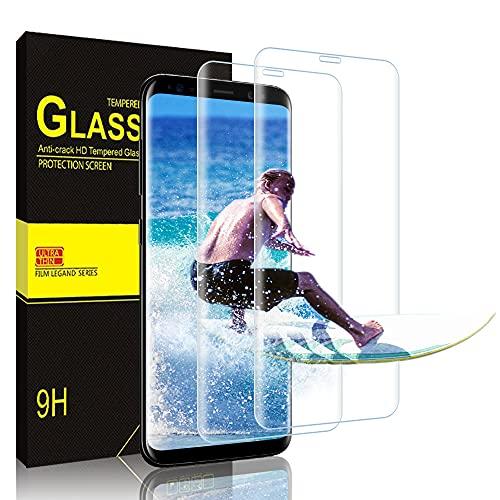 wsky [2 Stück] Panzerglas für Samsung Galaxy S9, 9H Härte, Anti-Kratzen, Blasenfrei Panzerglasfolie, 3D-gebogenen Volle Bedeckung Displayschutzfolie für Samsung Galaxy S9