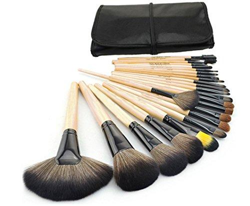 Yinew 24pcs Pro Kabuki Pinceaux de Maquillage Set Cosmétique Fondation Visage Poudre Blush Brush Kit Pinceaux de Maquillage + Trousse de Maquillage Noir