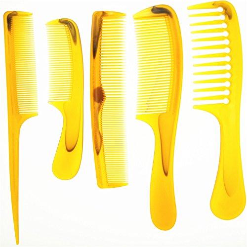 Pettine in plastica - ambra/arancioni Pettine per barbiere in anti-rottura - Pettine per taglio e styling per parrucchieri - Pettine per barba e capelli per parrucchieri con denti sottili 5 pezz
