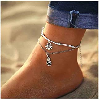 Sunflower Anklet Bracelet Layered Petite Anklets for Women and Girls Silver Foot Chain Summer Beach Jewelry Accessories