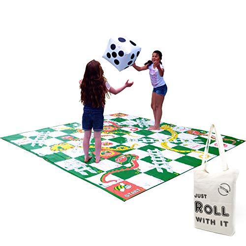 Garden Games Großes Schlangen und Leitern-Spiel, Kunststoffmatte, 3 x 3 m