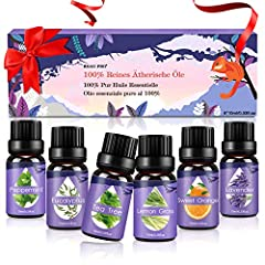 Idea Regalo - Oli Essenziali per Diffusori,Aromaterapia Oli Essenziali Puri 100%,Naturali Essenze per Diffusori Ultrasuoni Top 6 Set-Lavanda,Eucalipto,Tea Tree,Lemongrass,Menta Piperita,Arancia Dolce,6x10 ml