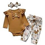 Recién nacido bebé niña ropa linda bebé recién nacido pelele body pantalones con flores con diadema conjunto de 3 piezas, Café 1., 12-18 Meses