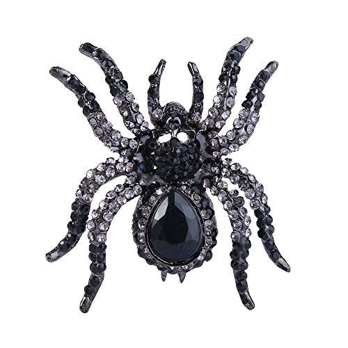 EVER FAITH Women's Austrian Crystal Halloween Gothic Spider Skull Brooch Jet Color Black-Tone