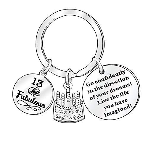 13th 16th 18th 21st 30th 40th 50th 60th 70th Anniversary Business Birthday Gift Present Inspirational Keyring Key Ring Key Chain Car Home Accessories Decoration (13 Years Old)
