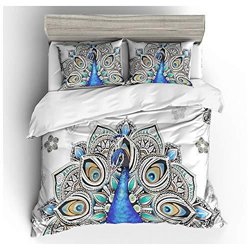 HOXMOMA 3D Peacock Comforter Cover, Kids Teen Printed Duvet Cover Set, Animal Theme Decor Bedding for Adult Women Men, Summer Quilt Cover with 2 Pillowcases,White,US Full