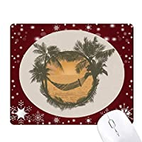 椰子の木の雲のハンモックビーチ オフィス用雪ゴムマウスパッド