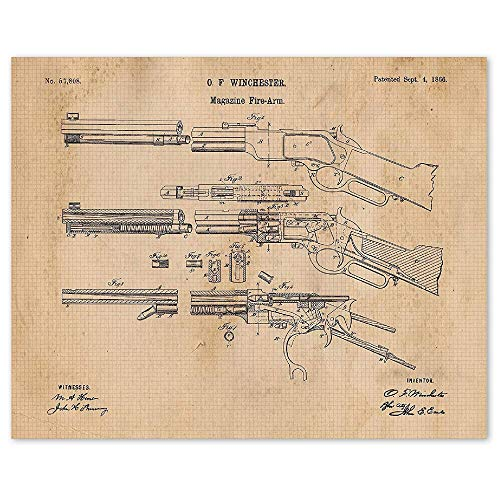 Vintage Winchester Lever Action Rifle Poster Gun Patent Print, Set of 1 (11x14) Unframed Photo, Great Wall Art Decor Gifts Under 15 for Home, Office, Man Cave, Shop, Cowboys, NRA Fan & Movies Fan