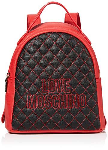 Love Moschino Pu, Borsa a Zainetto Donna, Nero (Nero/Rosso), 25x25x9 cm (W x H x L)