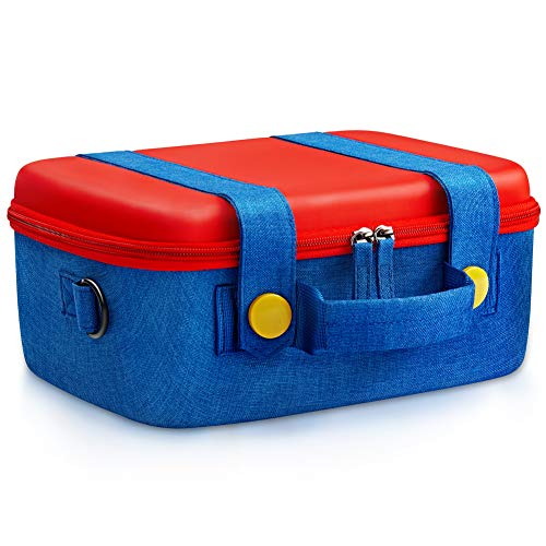 Travel Carrying Case Compatible With Nintendo Switch System,Cute and Deluxe,Protective Hard Shell Carry Bag for Mario Fans Console & Accessories