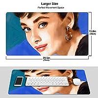 オードリーヘップバーン マウスパッド 光学マウス対応 パソコン 周辺機器 超大型 防水 洗える 滑り止め 高級感 耐久性が良い 40*75cm