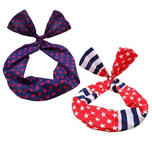 Fille jolie mignonne oreille de lapin Twist Bow DIY fils bandeau ruban cheveux (2pc), A