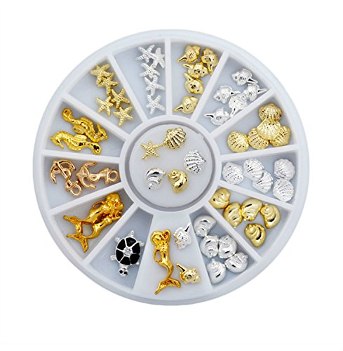 Sea Style Shell Starfish Mix Design Alloy Nail Art Rhinestone Studs Decoration Wheel Set DIY Beauty Charm Nail Tools by SmileyEU
