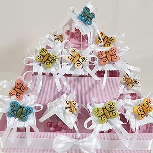 bomboniere Battesimo Bimba Farfalla Torta portaconfetti Confetti Rosa- Torta 20 fette + 20 Farfalle Magnete con casetta + Farfalla cenrale + Confetti Rosa Cioccolato APR