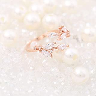 Yean Rose Gold Engagement Ring Jewelry Fashion Leaf Laurel Crystal Nail Ring for Women and Girls