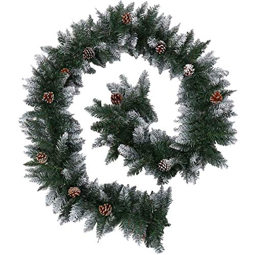 Christmas Garlands 9FT/2.7M Snow Frosted Garlands with Red Pine Cones Green Artificial Wreath,Xmas Festive Decors for Stairs Fireplaces