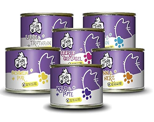 Tasty Cat Nassfutter für Katzen Probierpakerl 6 x 200g. | getreidefrei | zuckerfrei