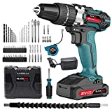 Blackpine 20V Cordless Drill with Impact Function 2000mAh Lithium-Battery 21 3 Torque Setting with 2 Speed 10mm Metal Chuck 63PCS Accessories Supercharge Fast Charger 2000mAhx1