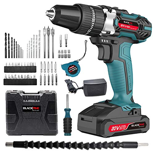 Blackpine 20V Cordless Drill with Impact Function 2000mAh Lithium-Battery 21+3 Torque Setting with 2 Speed 10mm Metal Chuck 63PCS Accessories Supercharge Fast Charger 2000mAhx1