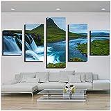 キャンバスに印刷世界の美しいアイスランドの滝ヒルズリバー壁の装飾壁画-40x60cmx2 40x80cmx2 40x100cmx1フレームなし