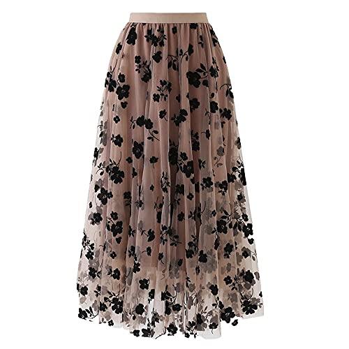 N\P Damas Impreso Faldas Sueltas De Gran Tamaño De La Falda De Las Mujeres Primavera Verano Elástico De Cintura Alta De Malla Larga