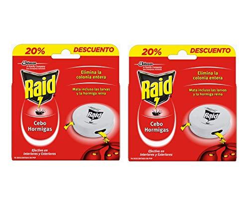 Raid Cebos - Trampas antohormigas. Elimina la colonia de hormigas entera. Efectivo en Interiores y Exteriores. 2 Packs