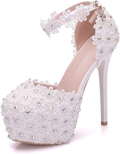 SYXLBDK Damen Damen Damen Schuh Casual Hohl Sandalen Absatz 14 cm Hohen Dünnen Ferse Runden Kopf Wasserdichte Plattform Weiße Spitze Schuhe Hochzeit  bis zu 70% Rabatt