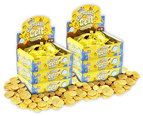 Hanukkah Gelt Coins Chocolate - Kosher Milk Chocolate Coins - 144 Mesh Bags Filled with Menora Embossed Hanukkah Gelt Coins