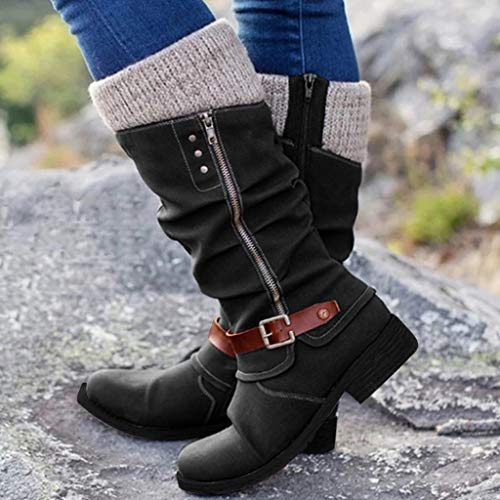 Stiefeletten Damen Rrunsv Damen Sommer Overknee Stiefel,Modische Spitze Zehen Schwarz Sexy Spitze Über Dem Knie Lange Stiefel, Mit Einer Absatzhöhe