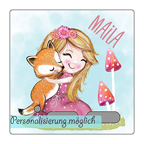 My Sweetheart® Schutzcover geeignet als Toniebox Schutzfolie mit Namen wischfest kratzfest Tonie Folie LED durchscheinend Fuchs Mädchen
