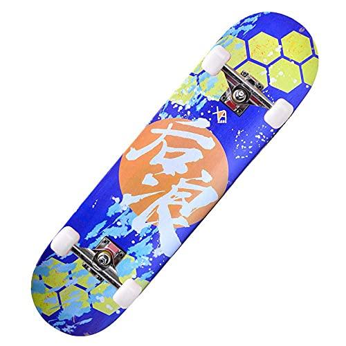 XYCSM Principiante Monopatín Completo / 30X8 Pulgadas/Canadian Maple Doble Kick Deck Concave Trick Pinkate Apto para Niños Adultos Y Principiantes Carga de 220 Libras Scooter de