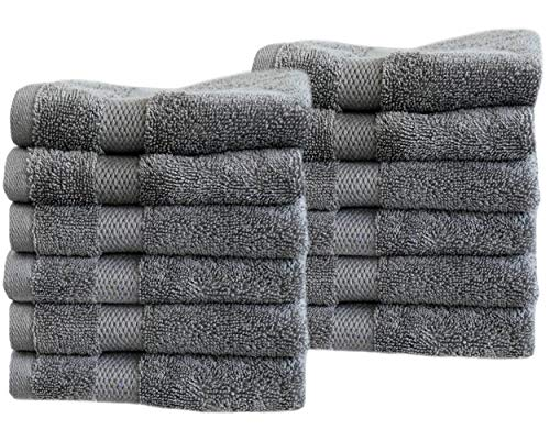 Cotton & Calm Exquisitely Fluffy Washcloths/Face Cloths Towel Set (12 Pack, 13
