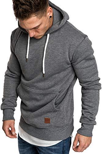 Amaci&Sons Herren Basic Kapuzenpullover Sweatjacke Pullover Hoodie Sweatshirt 4023 Anthrazit XL