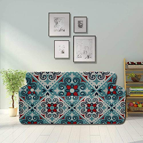 YUXB All-Inclusive Sofa Cover Washable 3 Seater Slip Cover Sofa 190-230cm Mexican Pottery Talavera Portuguese Tile Azulejo Slipcover Furniture Protector, Ideal Recliner Slipcovers for Pets & Chi
