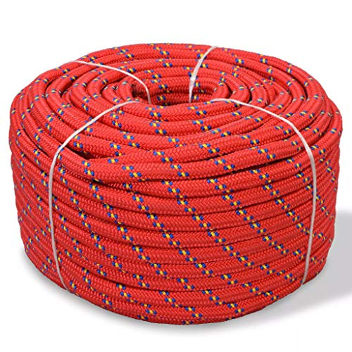 mewmewcat Bootsseil Polypropylen Ankerleine Polypropylenseil Festmacherleine Allzweckseil Festmacher Seil 12 mm 50 m Rot