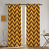 DONEECKL Yellow Chevron Black out Window Curtain Chevron Pattern with Yellow and Brown Lines Classical Retro Soundproof Shade W55 x L72 Inch Brown Pale Brown Marigold