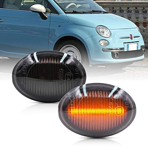 NSLUMO Amber LED Side Marker Light for 07-19 Fiat 500 500e 500c Abarth Smoked Lens 40-SMD Amber Front Marker Lights Replace OEM Sidemarker Lamps