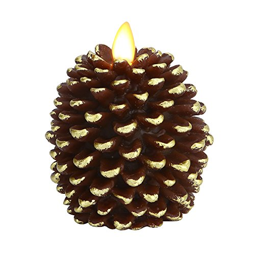 "Ksperway Pinecone Unscented Wax Battery Operated Flameless Candle with Moving Wick and Timer 3.4"" x 4.1"" (Brown)"