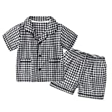 Kid Plaid Pajamas Set Short Sleeve Sleepwear Kid PJ's Button Down Pajama Top and Bottom Viscose Black 6T