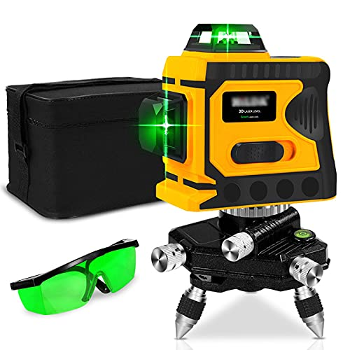 3D 12-Line Laser Level, 360 Laserpegel Selbstausgleichende, Selbstnivellierende Vertikale und Horizontale Linie Staubdicht, for Indoor & Outdoor Zusatzfliesen Befestigung, Wanddekoration