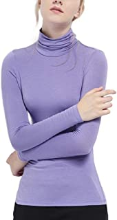 Mogogo Womens Solid Color Long-Sleeve Turtleneck Cozy Tops T-Shirts