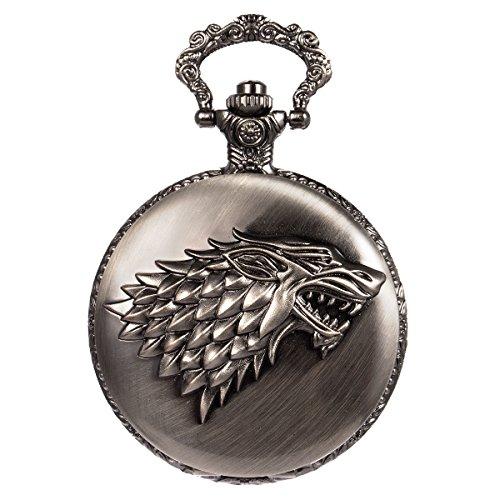 SIBOSUN Taschenuhr Steampunk Wolf Wölfe Muster Mens Chain Box Schwarz Quartz Arabisch Ziffern
