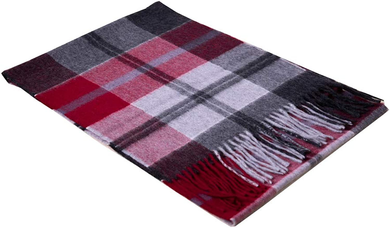 MedzRE Womens Mens Red Grey Plaids&Checks Cashmere Wool Scarf Tartan Wrap