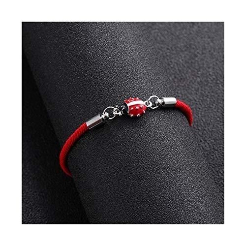 YNX MLKCL Pulsera trenzada de cuerda roja para mujeres y hombres, pulsera ajustable hecha a mano (longitud 24 cm, color del metal: blanco K)