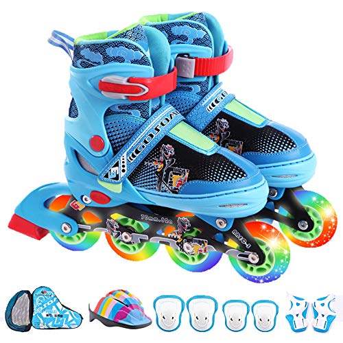 Adjustable Inline Skates, Safety Breathable Roller Skates with Flash Wheels, Indoor/Outdoor Fitness Skates for Men and Women, Best Gear for Beginners