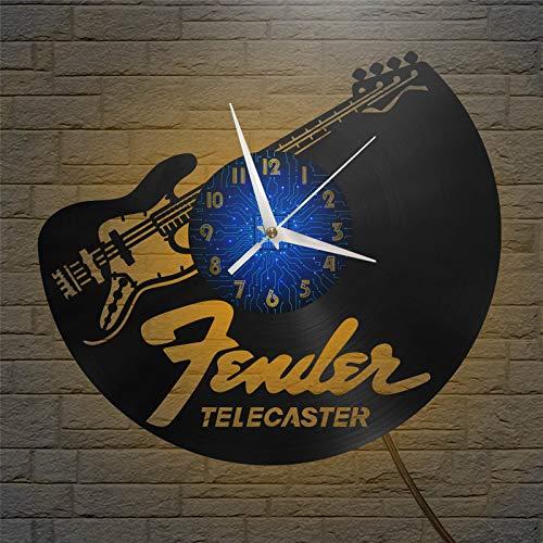 Telecaster Guitarra eléctrica Reloj de Pared con Disco de Vinilo de 12...